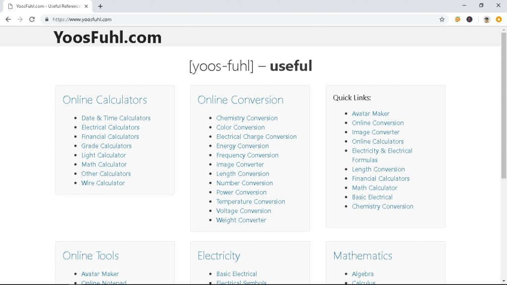 Screenshot Browser YoosFuhl.com - Useful Reference & Tools