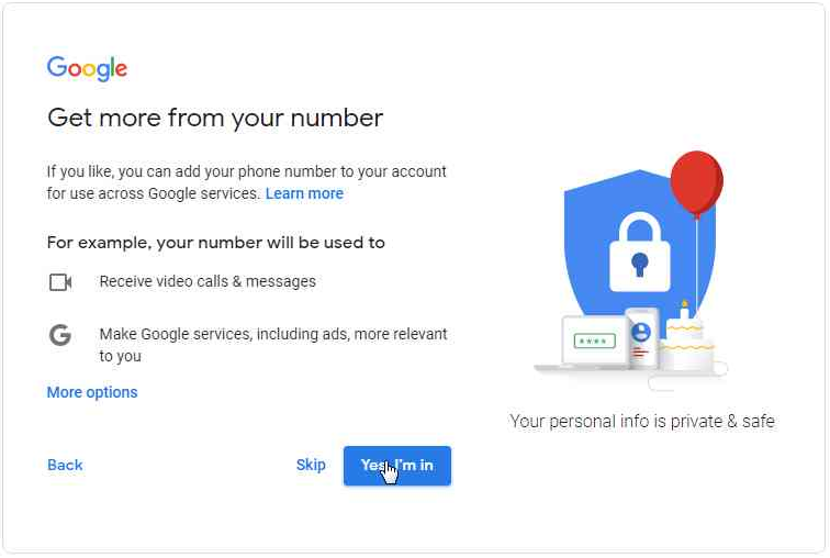 More services Google Account - Desktop version