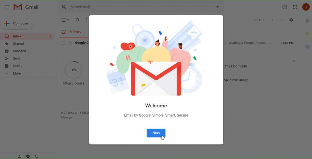 New Gmail Account - Desktop version