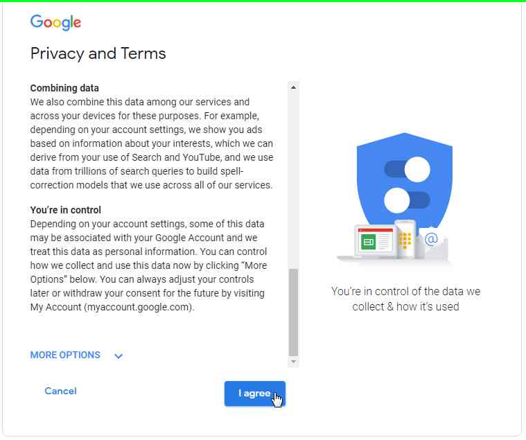 Review Google Privacy and Terms - Desktop version